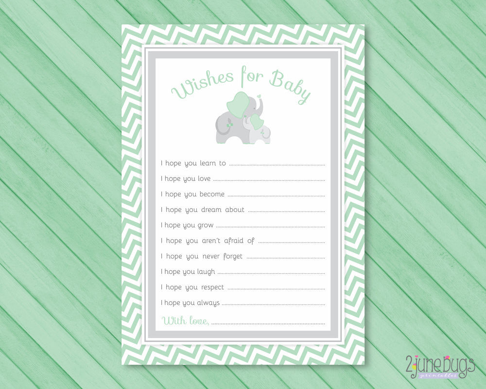 Elephant Baby Shower Well Wishes for Baby Activity in Mint Green and Gray