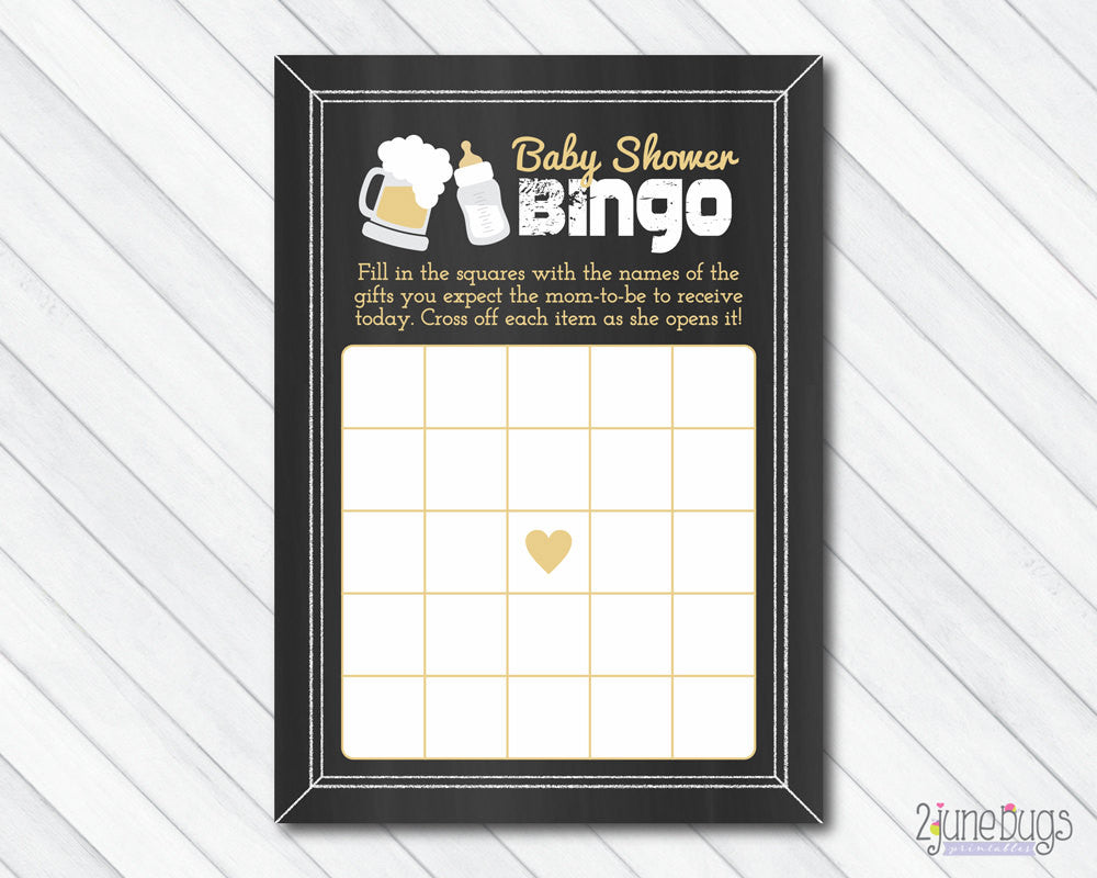A Baby is Brewing Bingo Baby Shower Game on Chalkboard