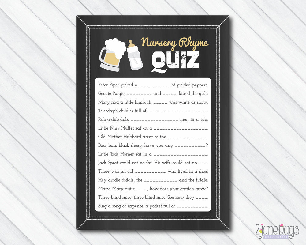 A Baby is Brewing Nursery Rhyme Quiz Baby Shower Game on Chalkboard