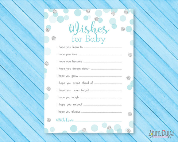 Blue and Silver Glitter Dots Baby Shower Well Wishes Card