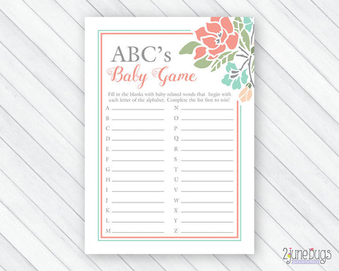 Floral ABC's Baby Shower Game in Coral and Teal