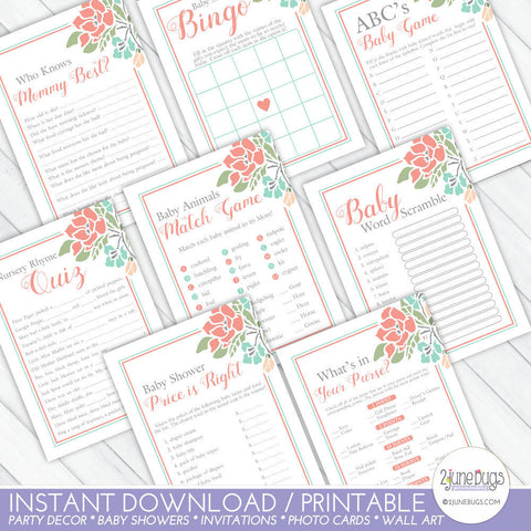 Floral Baby Shower Games Package in Coral and Teal