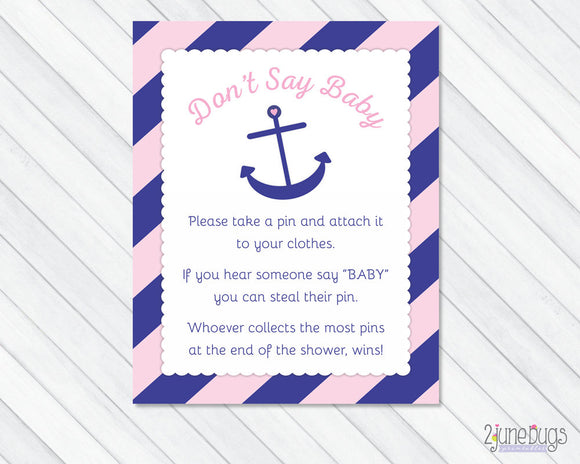 Anchor Don't Say Baby Baby Shower Game in Pink and Navy Blue