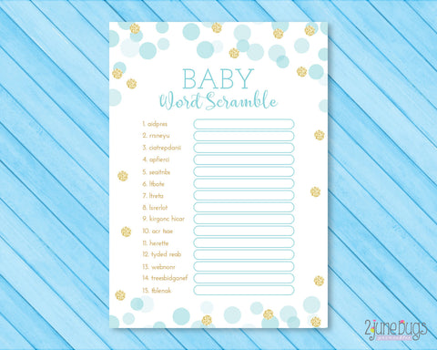 Confetti Dots Word Scramble Baby Shower Game in Blue and Gold Glitter