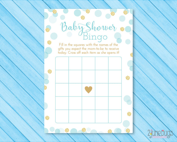 Confetti Bingo Baby Shower Game in Blue and Gold Glitter Dots