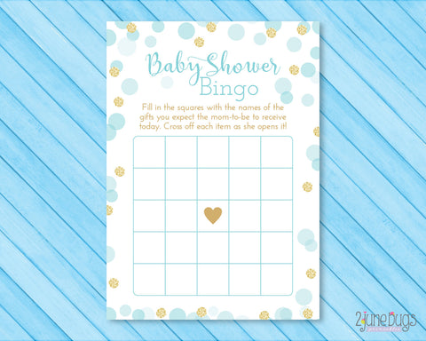 Blue and Gold Glitter Dots Bingo Baby Shower Game
