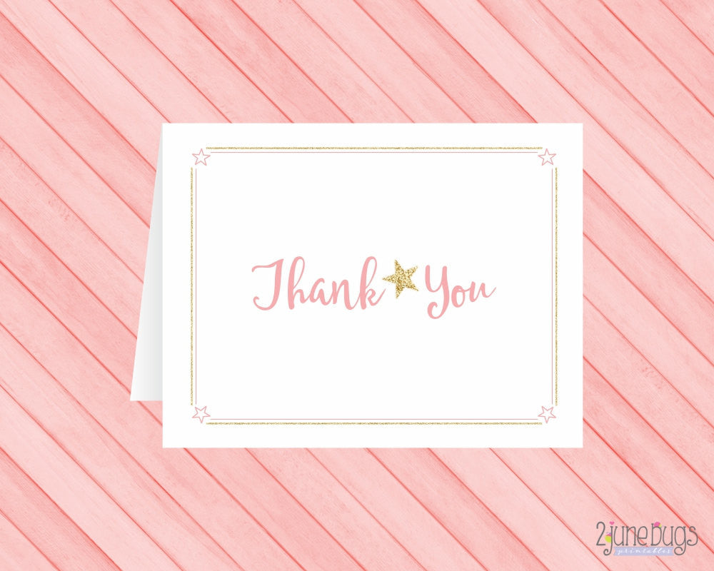 Pink Twinkle Twinkle Little Star Thank You Card