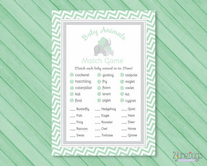 Elephant Animal Match Baby Shower Game in Mint Green and Gray Chevron