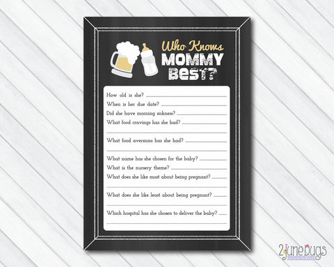 Baby is Brewing Who Know's Mommy Best Baby Shower Game on Chalkboard