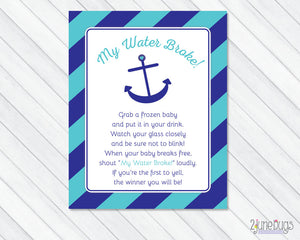 Anchor My Water Broke Baby Shower Game in Navy Blue and Turquoise