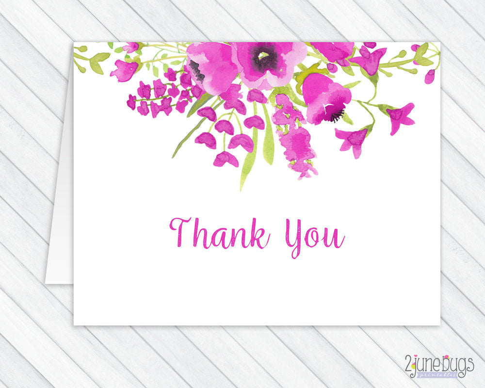 Purple Watercolor Flowers Thank You Card