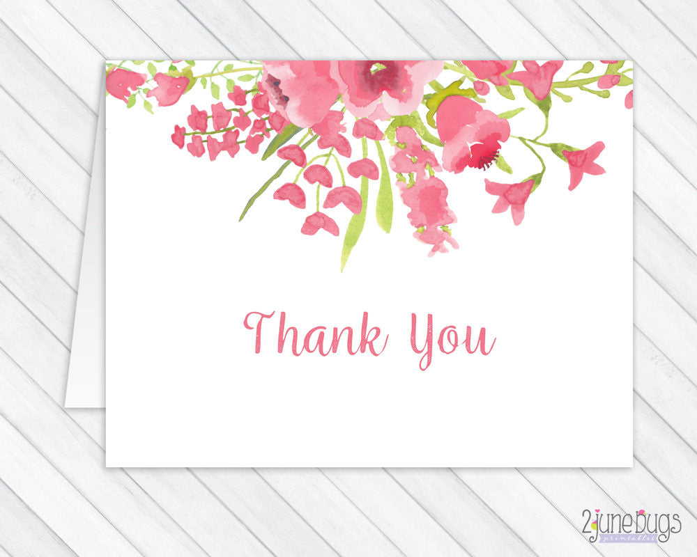 Pink Watercolor Floral Thank You Card