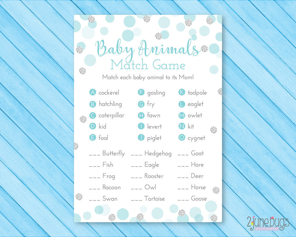 Confetti Dots Baby Shower Baby Animal Match Game in Blue and Silver Glitter Dots