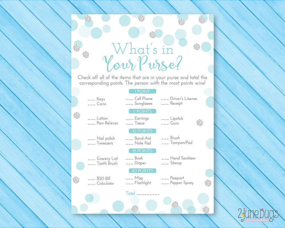 Confetti Dots What's in Your Purse Baby Shower Game in Blue and Silver Glitter