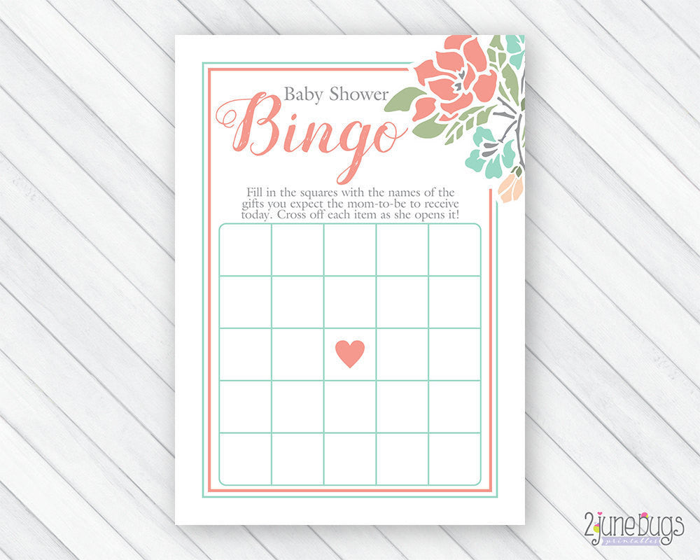 Floral Bingo Baby Shower Game in Coral and Teal