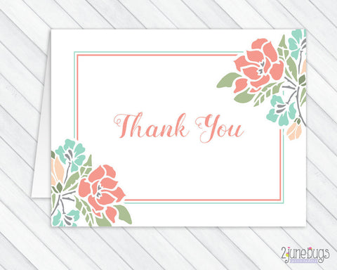 Floral Coral and Teal Thank You Card
