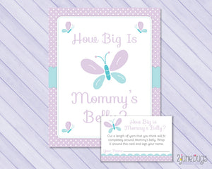Butterfly How Big is Mommy's Belly Baby Shower Game in Purple and Blue