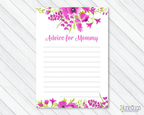 Purple Watercolor Floral Advice for Mommy Baby Shower Activity