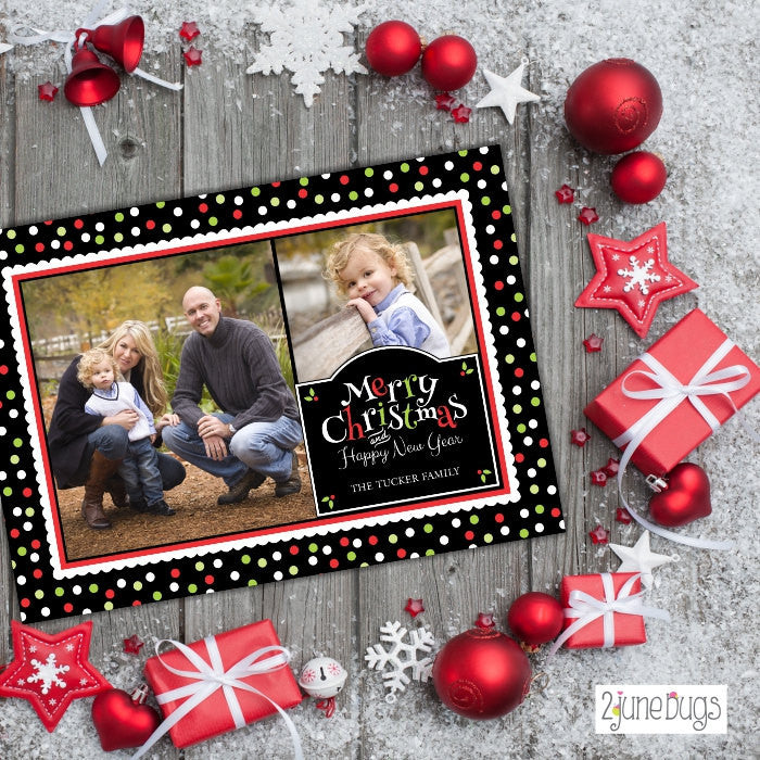 Polka Dots Collage Card Christmas Photo Card