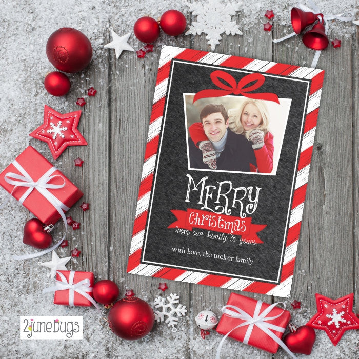 Red White Stripes on Chalkboard Christmas Photo Card