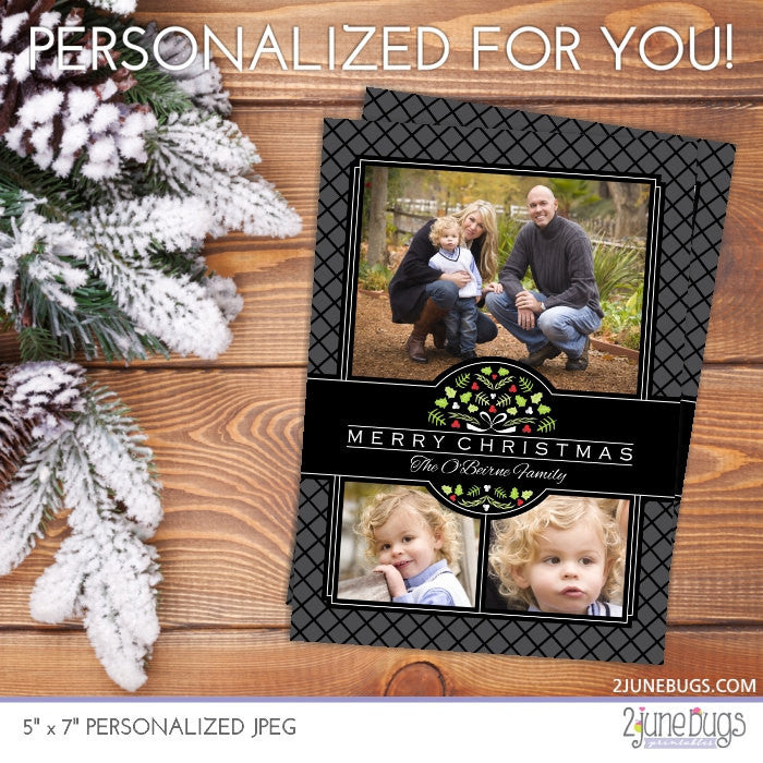 Holly Berry Wreath Christmas Photo Card