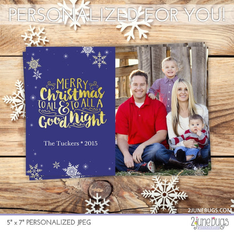 Gold Foil To All a Good Night Christmas Photo Card