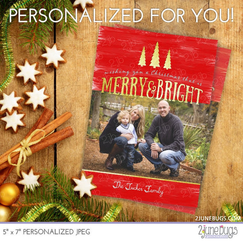 Gold Foil Watercolor ChristmasTrees Photo Card