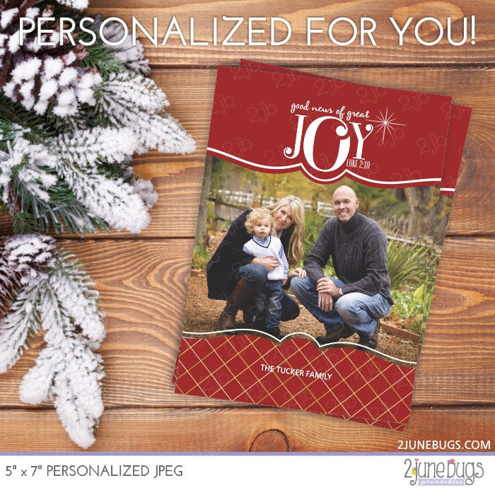 Gold Foil Red JOY Luke 2:10 Religious Christmas Photo Card