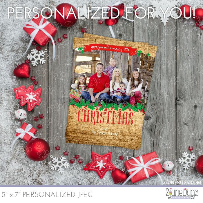 Rustic Wood & Banner Christmas Photo Card