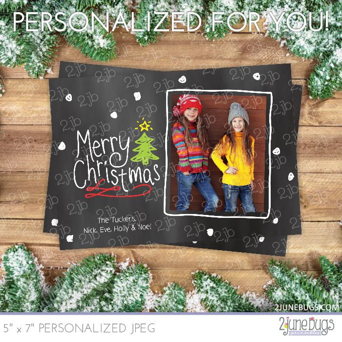 Snow & Christmas Tree Chalkboard Christmas Photo Card