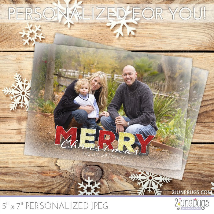 Gold Red Foil Text Christmas Photo Card