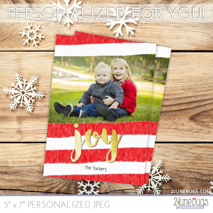 Gold Foil Watercolor Stripes Christmas Photo Card