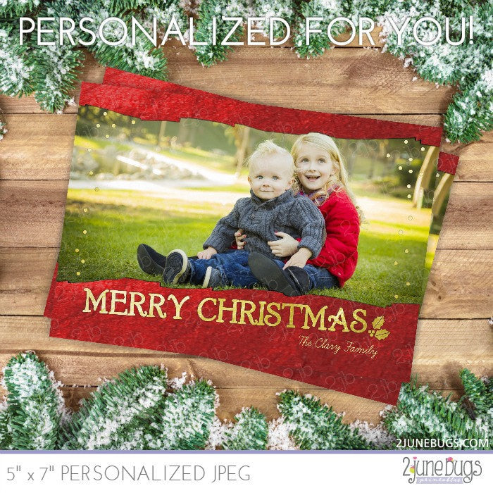 Gold Red Foil Christmas Photo Card