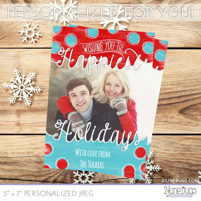 Holiday Photo Card in Red and Blue Watercolor Dots