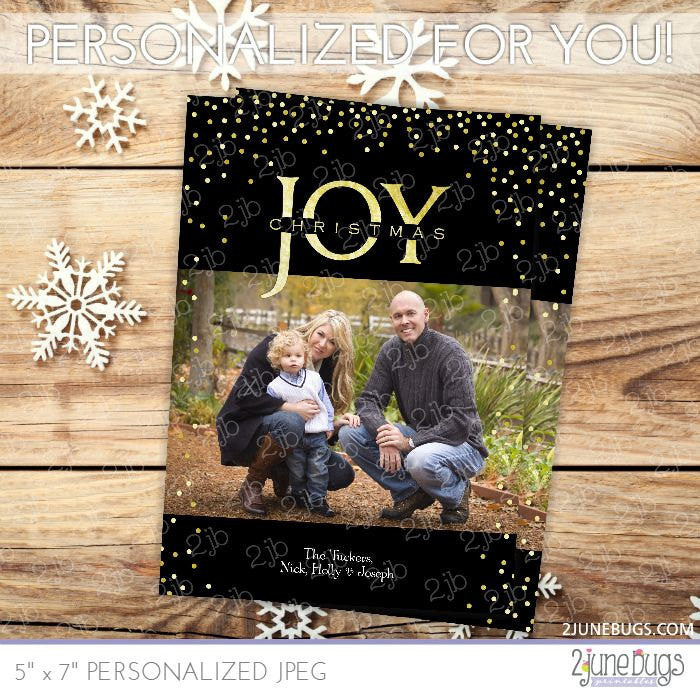 Gold Foil Joy Christmas Photo Card