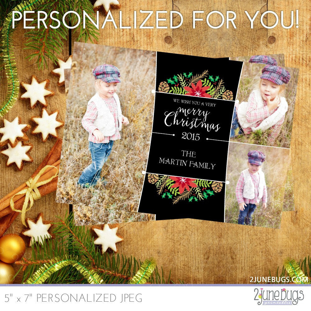 Woodland Floral Christmas Photo Card