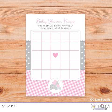 Elephant Baby Shower Bingo Game in Pink and Gray Gingham