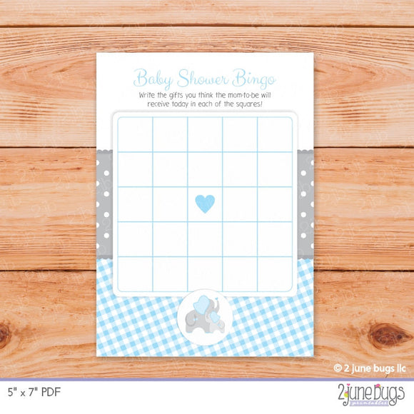 Elephant Bingo Baby Shower Game in Blue and Gray Gingham