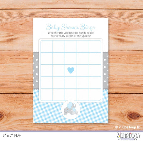 Elephant Baby Shower Bingo Cards in  Blue and Gray Gingham
