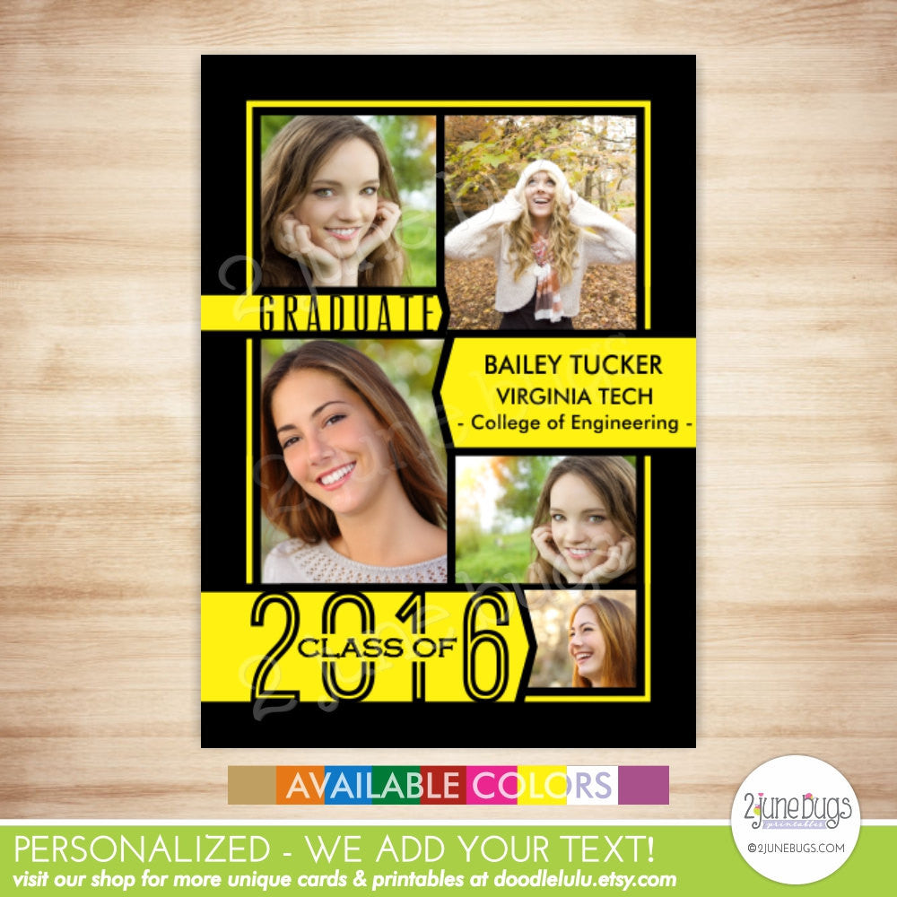 Class of 2016 Graduation Photo Card - 2016 Collage Grad Announcement - Banners Grad Photo Card - PRINTABLE