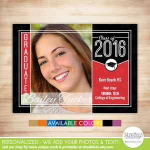 Class of 2016 Graduation Photo Card - 2016 Grad Photo Announcement or Invitation - Graduate Banner & Tassel in School Colors - PRINTABLE