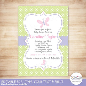 Butterfly Editable Baby Shower Invitation Template in Pink and Green