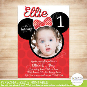 Minnie Mouse Inspired PHOTO Card Birthday Party Invitation - Minnie Mouse First Birthday  - PERSONALIZED & PRINTABLE