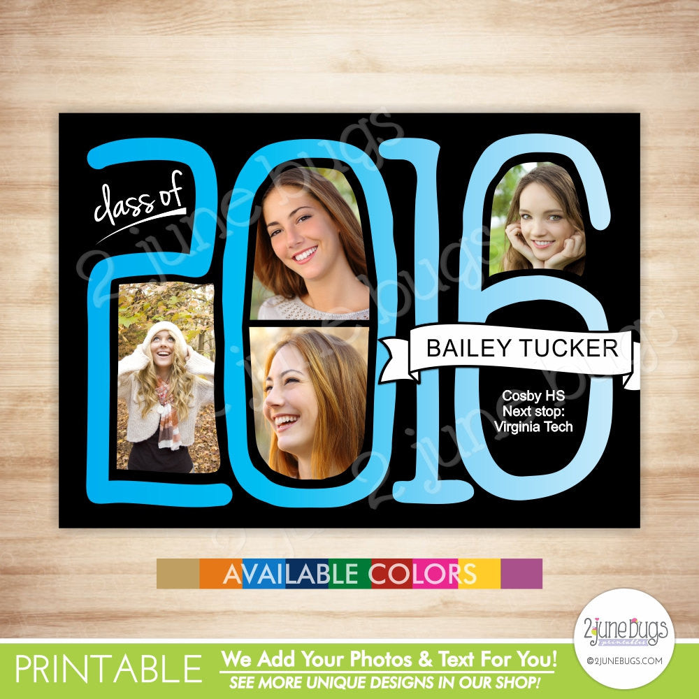 Class of 2016 Graduation Photo Card - 2016 Grad Photo Announcement or Invitation - Whimsical Hand-lettered 2016 in School Colors - PRINTABLE