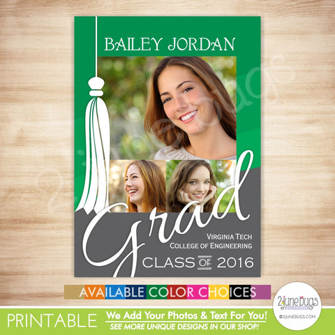2016 Graduation Photo Card - 2016 Grad Announcement - Collage Graduate Photo Card - Tassel on Ombre Stripes - PRINTABLE