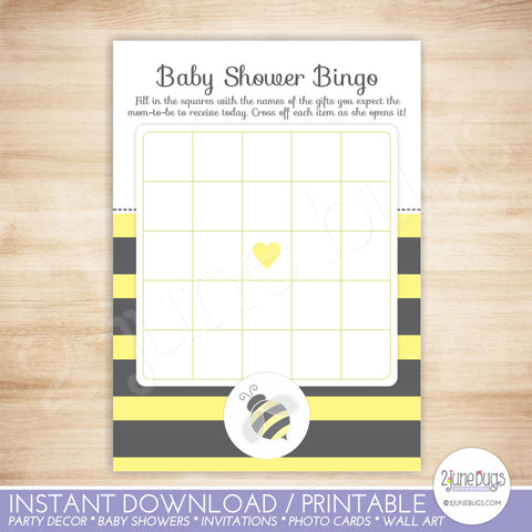 Bumblebee Baby Shower Bingo Game Card in Black and Yellow Stripes