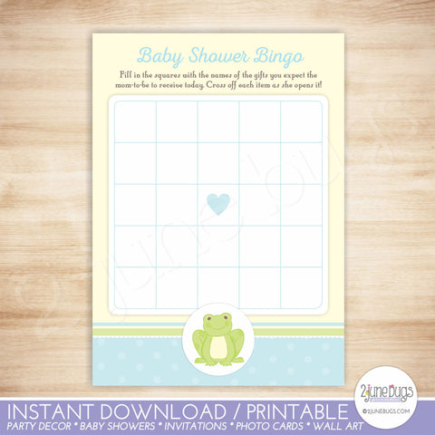 Frog Baby Shower Bingo Game Card
