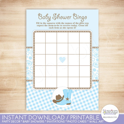 Cowboy Baby Shower Bingo Game Card in Light Blue and Brown