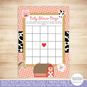 Farm Animals Bingo Baby Shower Game in Red Gingham and Cow Print