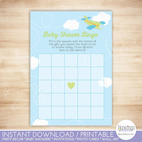 Airplane Baby Shower Bingo Game